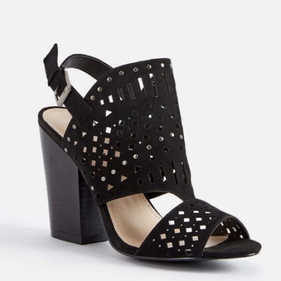 8416744f3 JustFab Shoes | Serephine Suede Open Toe Stacked Heel | Poshmark